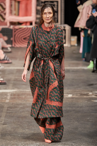 Henrik Vibskov <br>'Pipe Line dress' and 'Pipe Line Pants' in Green Mosaic Garden