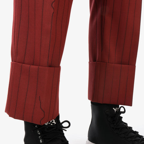 Vivienne Westwood 'Cropped George Trousers – Red Broken Pinstripe'