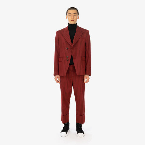 Vivienne Westwood 'Peacock Jacket – Red Broken Pinstripe'