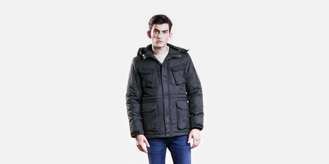 Christopher Raeburn 'Recycled Quilted Field Jacket'<br> 'Year': 2017 – 'Material': 100% recycled polyester from Hong Kong – 'Made in': China – 'Brand': Christopher Raeburn is a British fashion designer, known for reworking surplus fabrics and garments to create menswear, womenswear and accessories