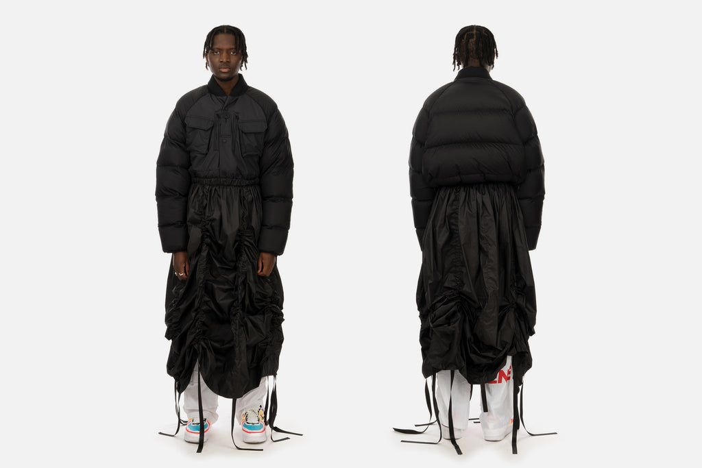 The Anatomy of the Duran Lantink x Concrete Store 'Puffer Dress Jacket'<br>'A: Front' – Christopher Raeburn Recycled Quilted Field Jacket _ 'B: Sleeves/Back' – Adidas Originals DLX Superstar Jacket _ 'C: Bottom' – Museum of Friendship Drawstrip Skirt <!--[A: Front ––,16,25,][–– B: Back/Sleeves,86,25,][–– C: Bottom ––,50,68,]-->