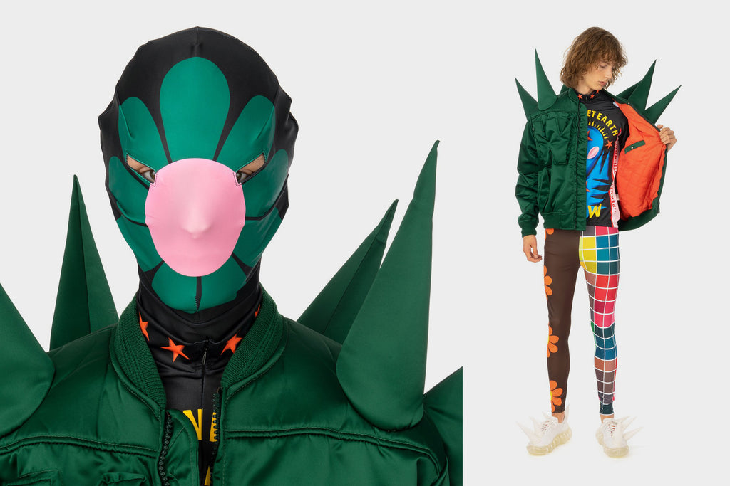 Water van Beirendock 'Save Planet Earth Morph Mask', 'W:A.R. Bomber Jacket', 'Save Planet Earth Bike Top', 'Save Planet Earth Bike Leggings' and 'Spike Sneaker'