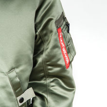 Load image into Gallery viewer, Bedwin & The Heartbreakers | 'Duffy' MA-1 Reversible Jacket Olive - Concrete