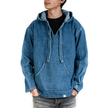Load image into Gallery viewer, Bedwin 'Gus' L/S Baja Pullover Hooded Shirt Indigo