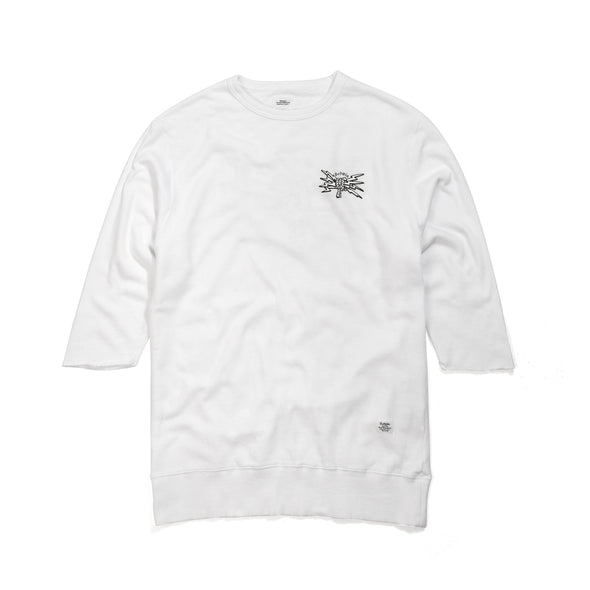 Bedwin & The Heartbreakers | 'Bradbury' 7/S Crew Neck Sweat White - Concrete