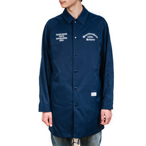 Bedwin 'Jill' Long Nylon Coaches Jacket Blue