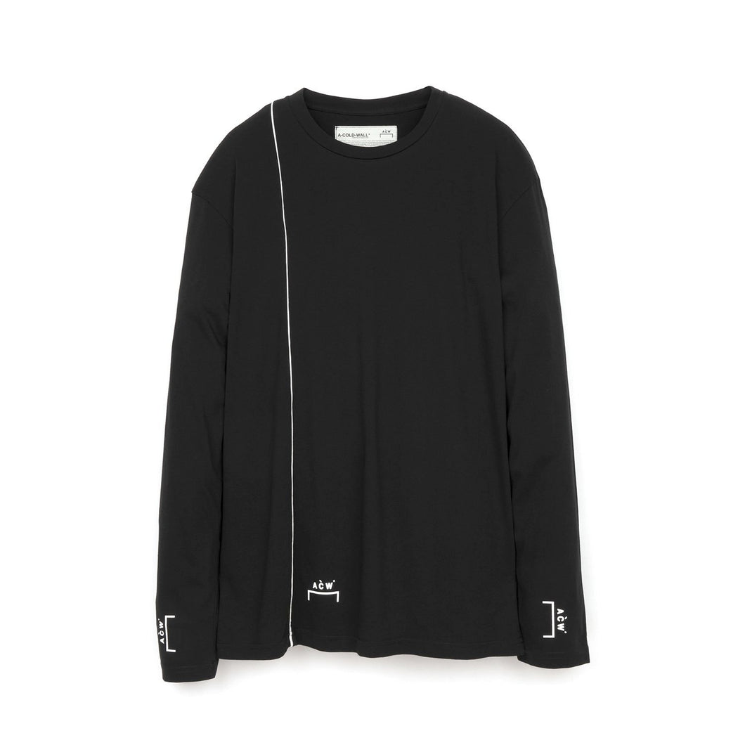 A-COLD-WALL* | Piping L/S T-Shirt w. Bracket Logo Black
