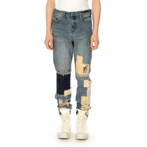 Val Kristopher | Multi Patched Denim Blue Sand - Concrete