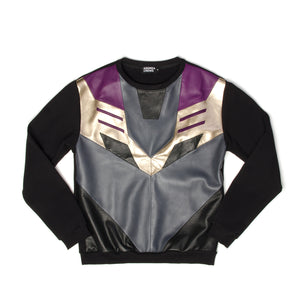 Andrea Crews Megatron Leather Sweatshirt Black - Concrete