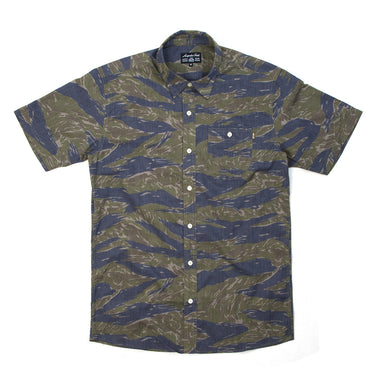 Acapulco Gold | Beach Head S/S Button Down Shirt Tigerstripe Camo - Concrete