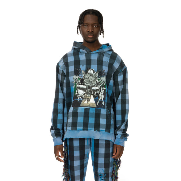 ALCHEMIST | Babylon Burning Hoodie Blue / Black Check