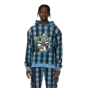 ALCHEMIST | Babylon Burning Hoodie Blue / Black Check - Concrete