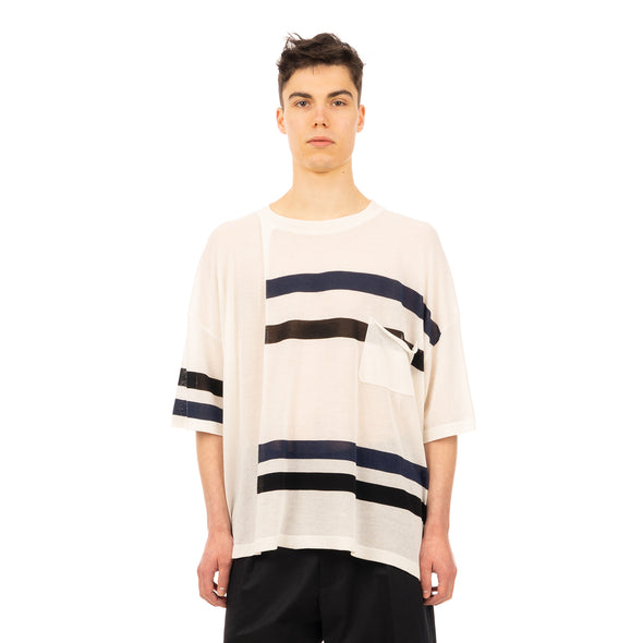 AMBUSH | Stripe Mix Knit T-Shirt White - Concrete