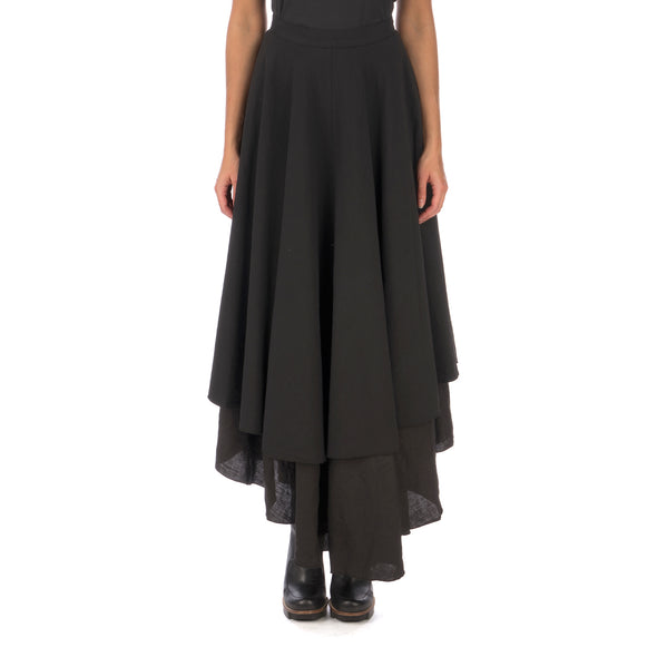 Andrea Ya'aqov | W Two Layer Skirt Linen Black - Concrete