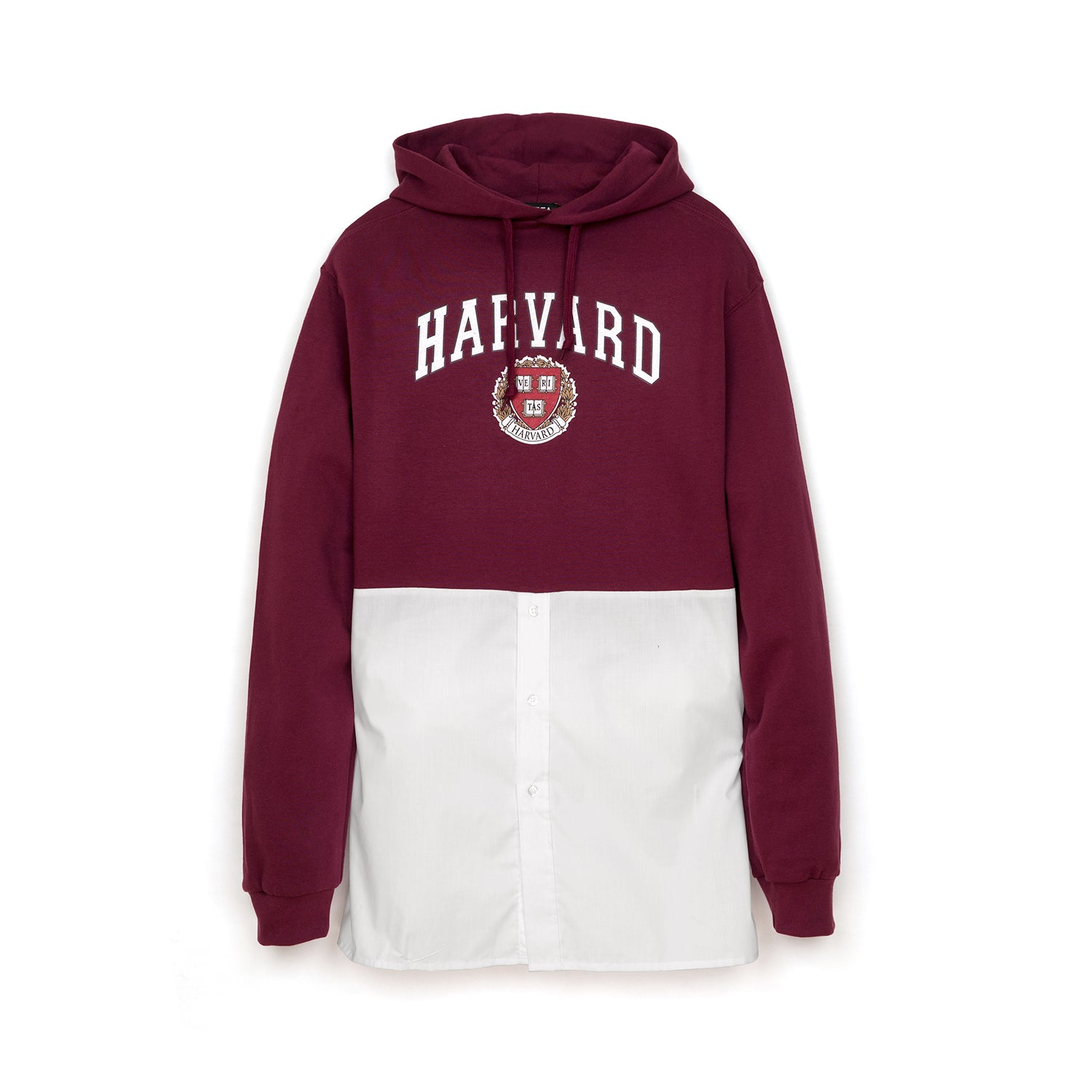 Andrea Crews 'Hilary' Shirt Bottom Hoodie Burgundy