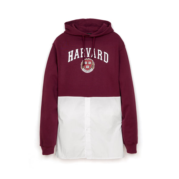 Andrea Crews 'Hilary' Shirt Bottom Hoodie Burgundy - Concrete
