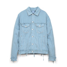 Load image into Gallery viewer, Andrea Crews 'Ray' Denim Frayed New Man Jacket Turquoise