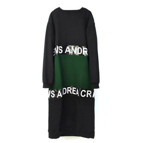Andrea Crews 'Long Green Pack' 2 Tone Long Sweatshirt Black/Green