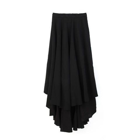 Andrea Ya'aqov Wmns Two Layer Skirt Linen Black - Concrete