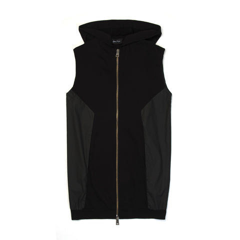 Andrea Ya'aqov Wmns Waxed Hooded Vest Zip Black - Concrete