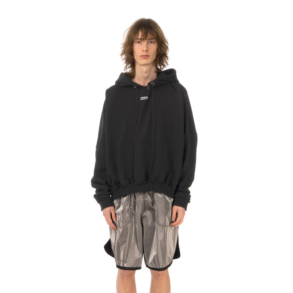 asparagus_ | Zipped Neck Hoodie Jacket Black - Concrete