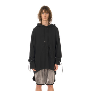 asparagus_ | Double Layered Hoodie T-Shirt Black