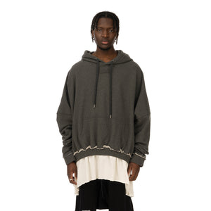 asparagus_ | T-Shirt Layered Hoodie Grey