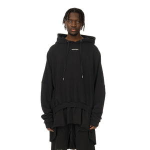 asparagus_ | T-Shirt Layered Hoodie Black