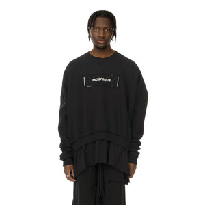 asparagus_ | T-Shirt Layered Sweatshirt Black