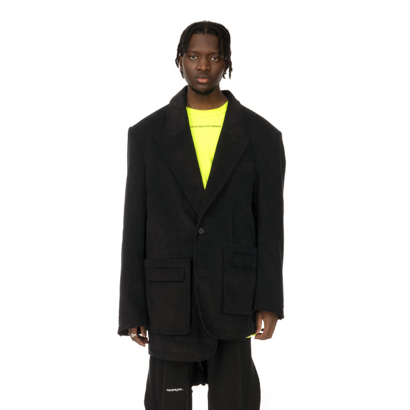 asparagus_ | Asymmetric Jacket Black