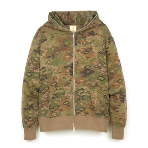 Billionaire Boys Club | Multi Camo Full Zip Hoodie Green - Concrete