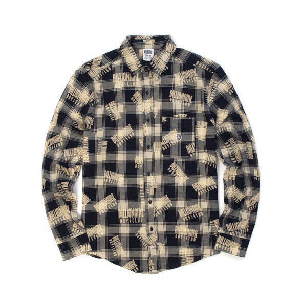 Billionaire Boys Club | Repeat Print Check Shirt Navy - Concrete