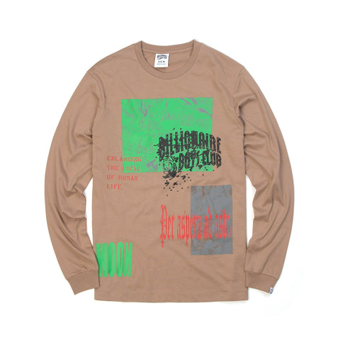 BBC Collage Print L/S T-Shirt Taupe