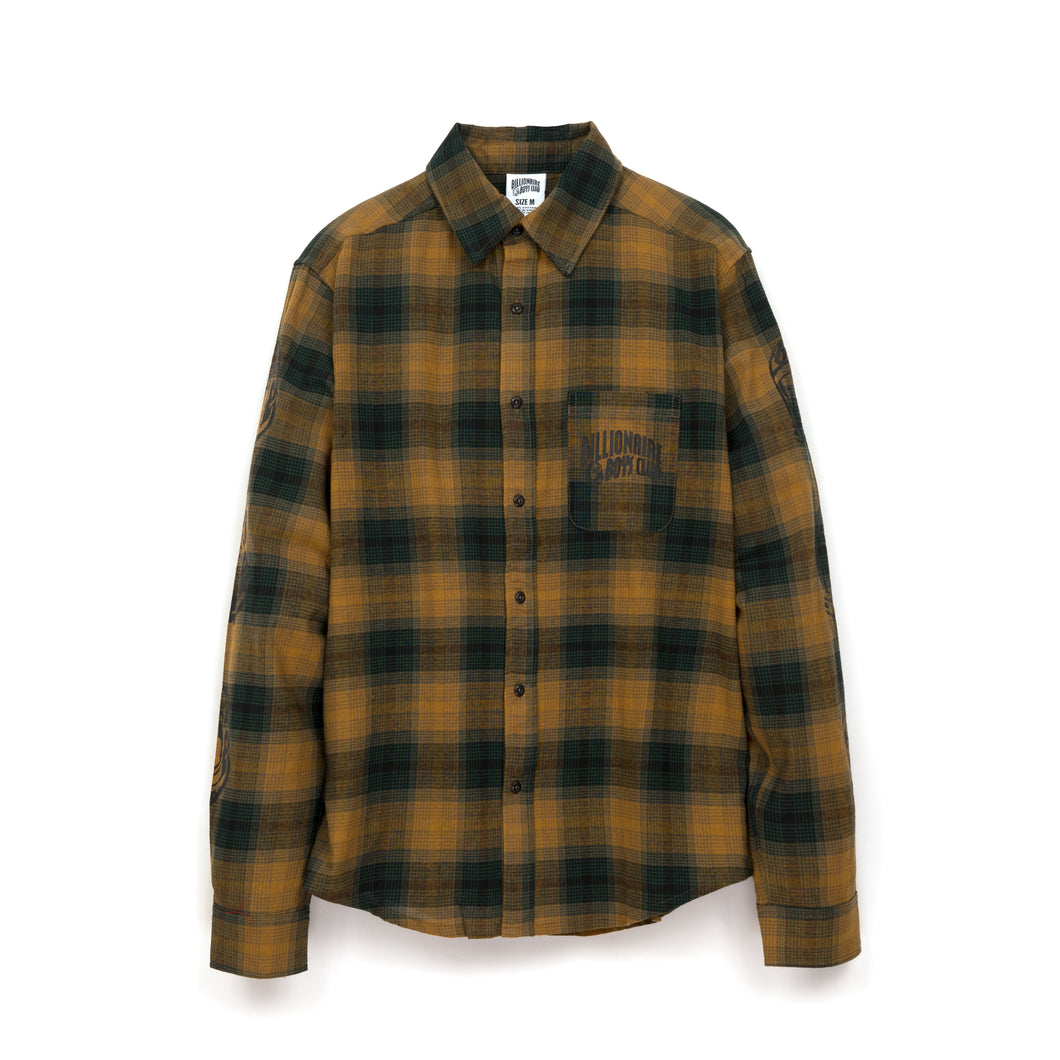 Billionaire Boys Club | Helmet Print Check Shirt Green - Concrete