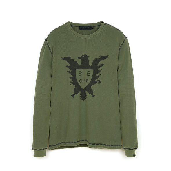 Billionaire Boys Club | Overdyed L/S Waffle T-Shirt Olive - Concrete