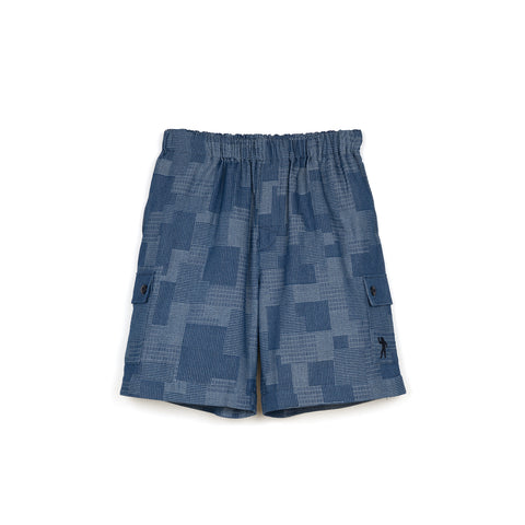 BBC Patchwork Denim Short Blue