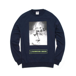BBC Technician Checks Crewneck Navy