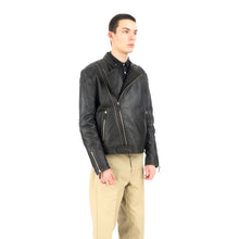 Load image into Gallery viewer, Billionaire Boys Club | Leather Wolfman Motorcycle Jacket Black