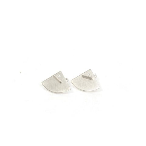 The Boyscouts Earring 'Crescent' (Pair) Back Silver - Concrete