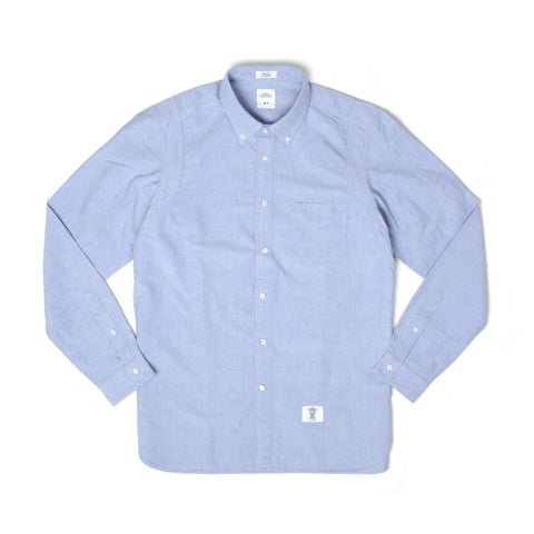 Bedwin 'Brian' Armhole Layered Oxford Shirt Sax - Concrete