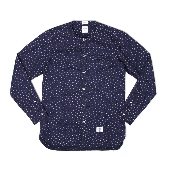 Bedwin 'Owens' Long Sleeve H-Neck OG Flower Shirt Navy - Concrete