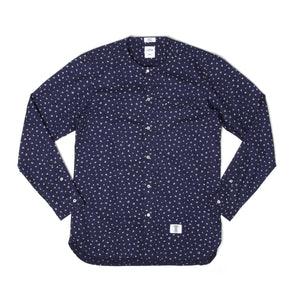 Bedwin & The Heartbreakers | 'Owens' Long Sleeve H-Neck OG Flower Shirt Navy - Concrete