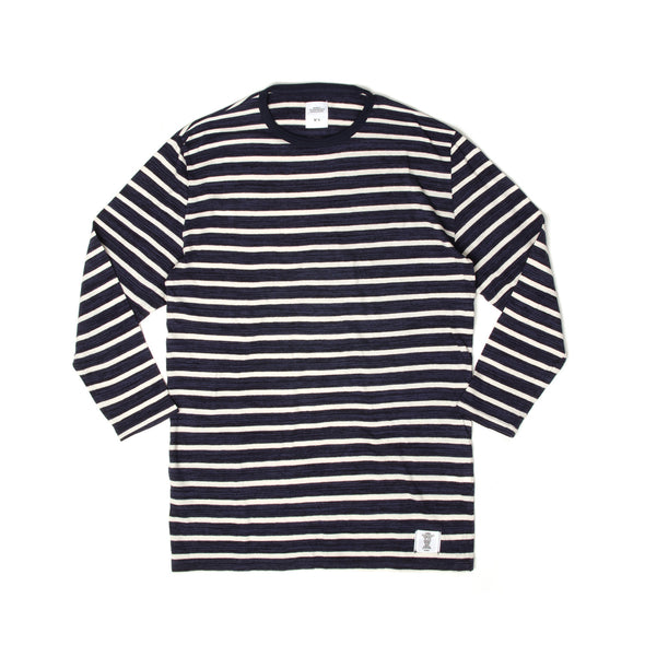 Bedwin & The Heartbreakers | 'Earnie' 8/L Border Tee Navy - Concrete