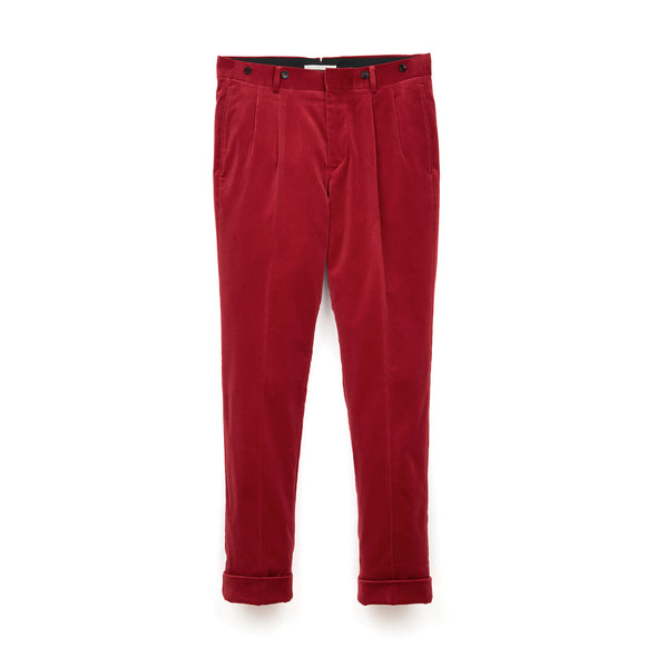 Bedwin & The Heartbreakers | x Curtis Kulig 'Charls' 10/L Tapered Velvet Pants Red - Concrete
