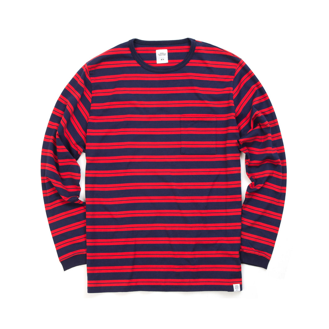Bedwin 'Earnie' Long Sleeve Border Tee Red