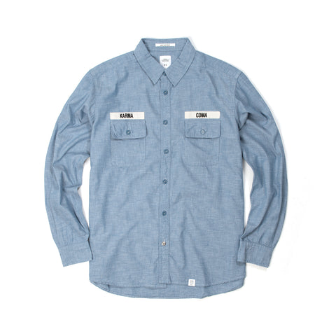 Bedwin 'Wilk' Long Sleeve Prisoner Shirt Blue