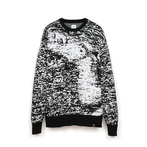Bedwin & The Heartbreakers | 'Wright' C-Neck Jacquard Knit Sweater White/Black - Concrete