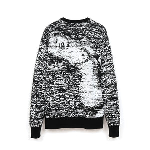 Bedwin 'Wright' C-Neck Jacquard Knit Sweater White/Black