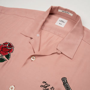 Bedwin & The Heartbreakers | 'Marshall' Open Collar Souvenir Shirt Pink - Concrete