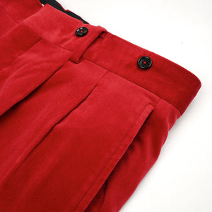 Bedwin & The Heartbreakers | x Curtis Kulig 'Charls' 10/L Tapered Velvet Pants Red